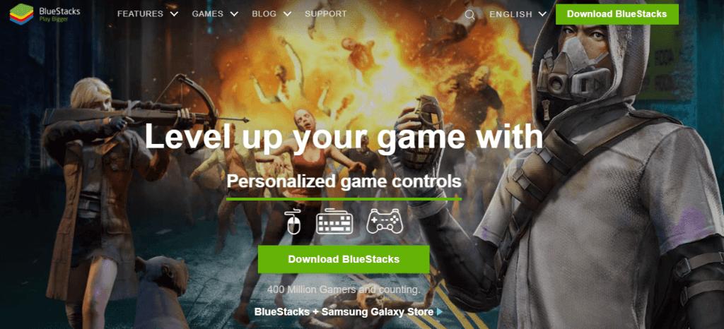 Download BlueStacks button.