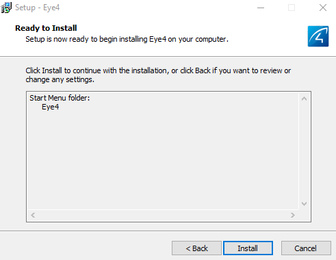 Select Install to install Eye4