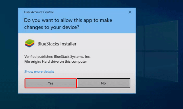 Select Yes in the User Account Control
