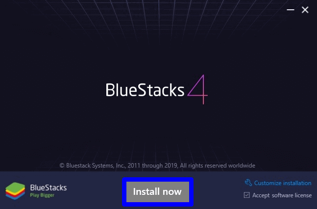 select Install now to install BlueStacks for PC