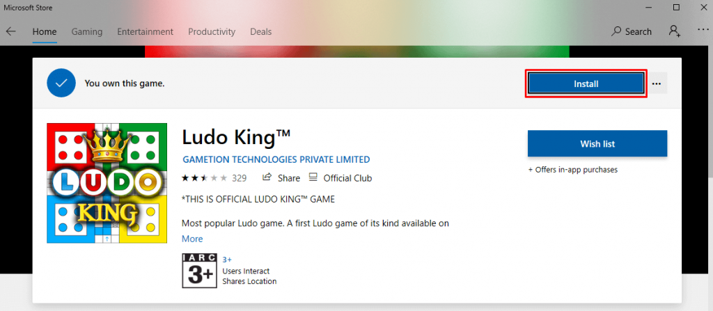 Select Install to install Ludo King for PC