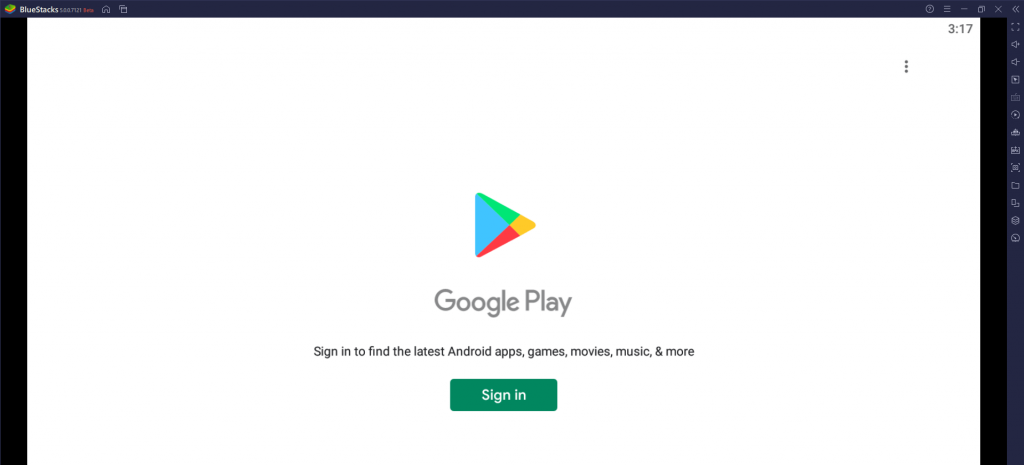 Click Sign In on BlueStacks