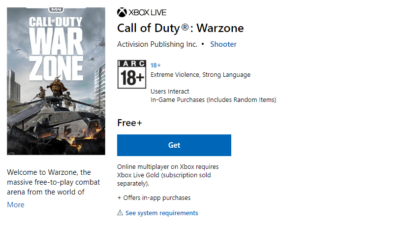 Get Warzone on Microsoft Store