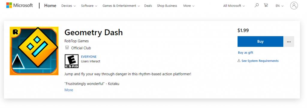Buy Geometry Dash for PC