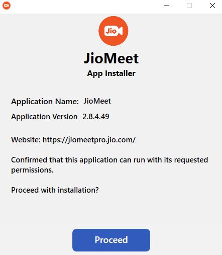 click Proceed in JioMeet installation
