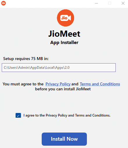 Select Install Now to get JioMeet for PC