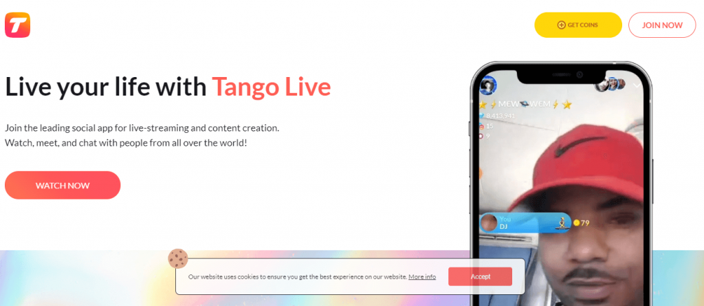 Click Join Now in Tango website