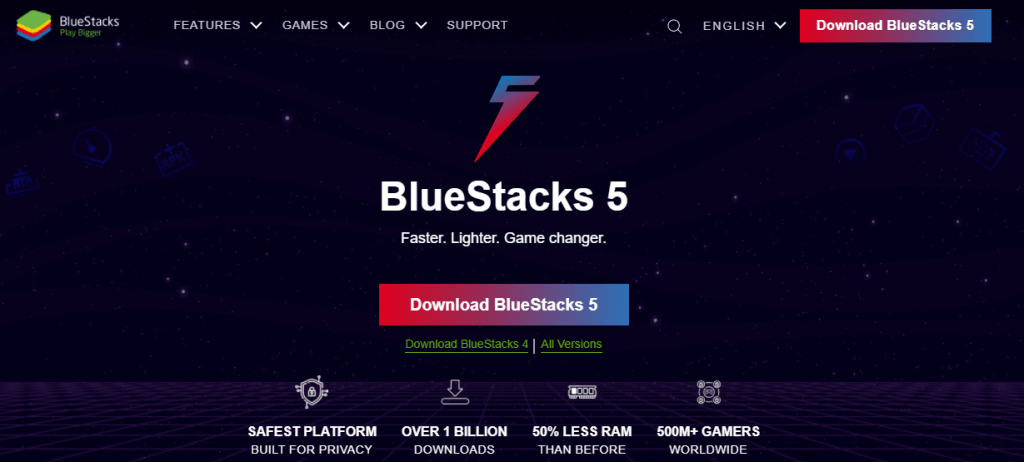 click on Download BlueStacks to install Horizon Camera for PC
